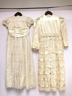 2x Vintage Unbranded Cream Handmade Flower Girl Lace Dresses, Size Small - D24