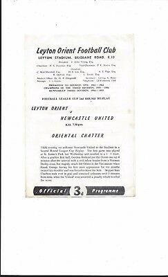 LEYTON ORIENT v NEWCASTLE UNITED 1962 LEAGUE CUP 2nd ROUND REPLAY GOOD CONDITION