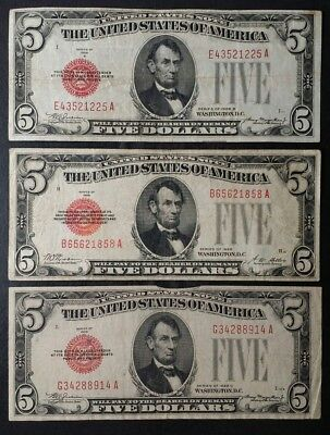 Three 1928 $5 Red Seal United States Notes