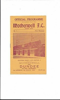 MOTHERWELL v DUNDEE 1959-60 SCOTTISH LEAGUE CUP VERY GOOD CONDITION