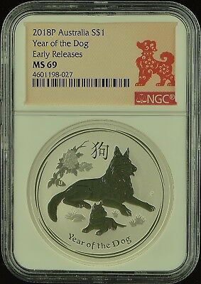 2018 P Silver NGC MS69 Australia $1 Year of the Dog Early Releases (b104g)