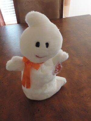 Halloween Ghost Ty Beanie Babies Baby Plush SPOOKY w/ Tag & Protector 2001 (h338