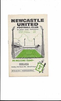 NEWCASTLE UNITED v CHELSEA 1962-3 DIVISION 2 GOOD CONDITION