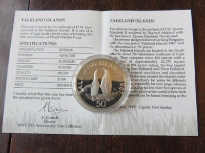 """WWF Fakland Islands""""King Penguin"""" Silver Proof Coin."""