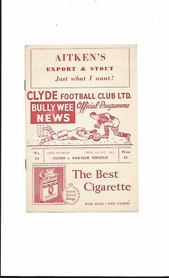 CLYDE v PARTICK THISTLE 1960-1 SCOTTISH FIRST DIVISION GOOD CONDITION
