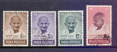 India 1948 Gandhi Independence Set to 10R Purple Br Fine Use Slight Fault to 10R