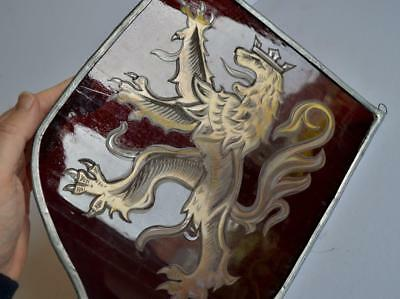 Interesting Good Antique Heraldic Lion Cut Stained Glass Shield Panel