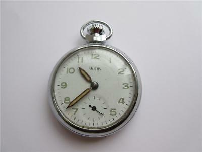 VINTAGE CHROME PLATED SMITHS POCKET WATCH - VGC & Fully Working!