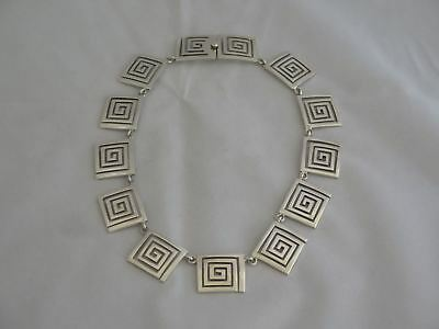 """Awesome Mexico Sterling 16"""" Heavy Modernism Necklace"""
