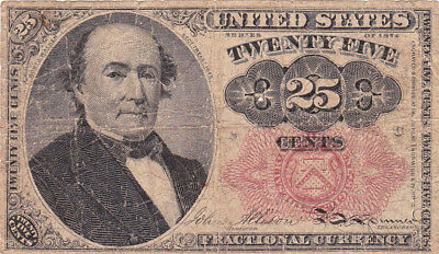 25 Cents Vg Banknote From Usa 1874!fractional Currency!