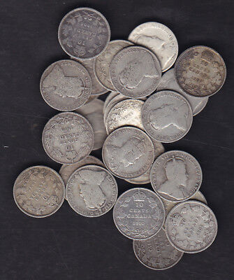 1902-1910 Canada Edward Silver 10 Cents Lot Of 25