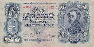 5 Pengo Fine Banknote From Hungary 1928!pick-95!only 1 On Ebay!hyper Rare!