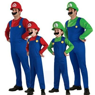 Halloween Kids Adult Mens Super Mario And Luigi Bros Fancy Dress Costume Plumber