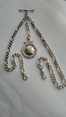 Vintage Solid Silver Albert Pocket Watch Chain With Fob Weight- 41.1- Grams