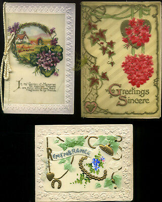Vintage CELLULOID New Year Cards x3 EMBOSSED Flowers BELL Garden