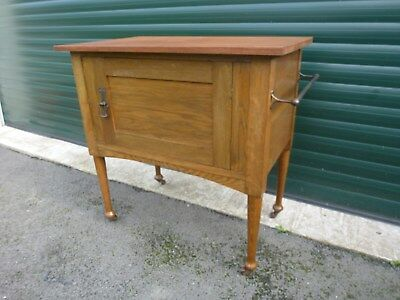 Antique Oak Washstand With Towel Rail - On Metal Castors  Bathroom Bedroom Table