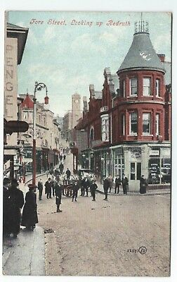 Early Postcard Looking up Fore Street Redruth Cornwall