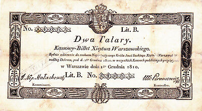 2 Talary Fine Banknote From Grand Duchy Of Poland 1810!hyper Rare!