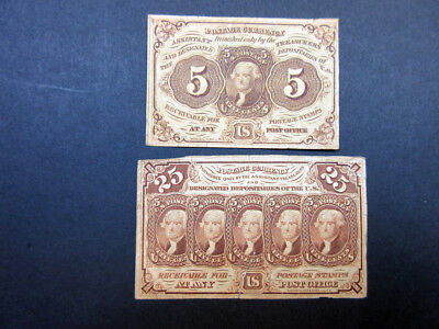 U.S. Fractional Currency 1st Issue 5cts & 25cts, Both w/monogram