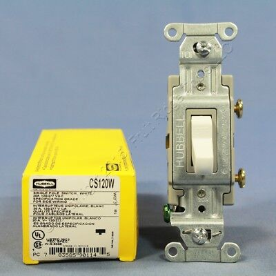 New Hubbell Bryant White COMMERCIAL ON/OFF Toggle Wall Light Switch 20A CS120W