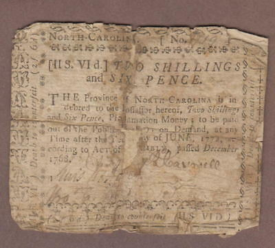 Colony Of North Carolina December 1768 Colonial Bank Note 2 Shillings 6 Pence