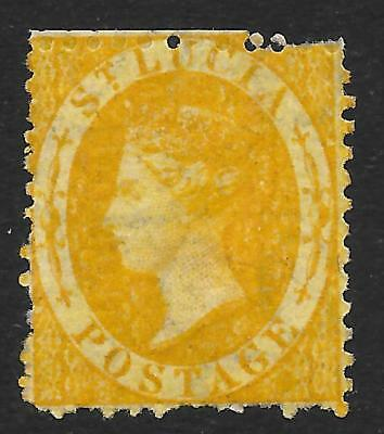 St Lucia 1864-76 (4d) Yellow Perf. 12½ SG 12 (Unused)