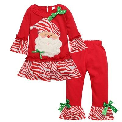 "NEW ""SANTA CLAUS"" Zebra Pants Girls Clothes 2T Christmas Toddler Holiday Kids"