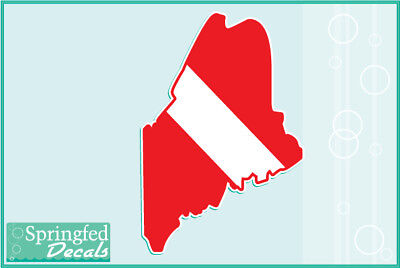 ALASKA Shaped DIVE Flag Vinyl Decal Car Truck Sticker SCUBA Diving Decal