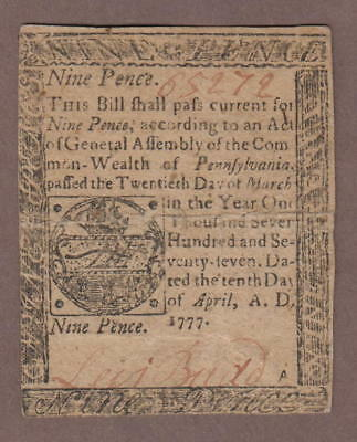 Colony of Pennyslvania April 10 1777 Colonial Bank Note 9 Pence Commonwealth