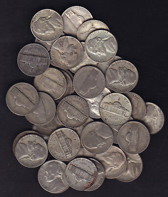 1942-1945 Usa Wartimes Nickels Silver Lot Of 40