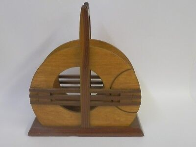 Rare Art Deco Bauhaus Design Letters Napkins Wooden Holder