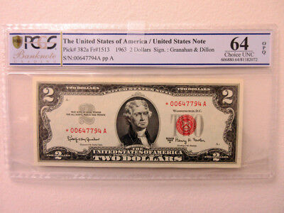 U.S. Note, $2 Series 1963 A *Star-Replacement Note Fr#1513* PCGS Ch. Unc 64 PPQ