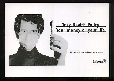 1992 Election Poster LABOUR PARTY Tory Health Policy  LEEDS POSTCARDS Waldegrave