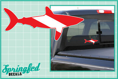 Bull Shark on Dive Flag Decal Sticker 200-2