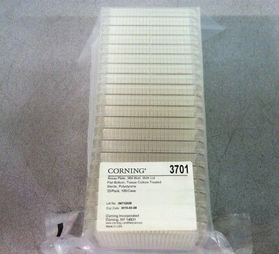 New Corning 3701 Polystyrene Sterile 384 Well Microplates Tissue Culture 20 Pack