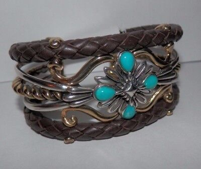 Carolyn Pollack American West Turquoise & Leather Cuff Bracelet SMALL