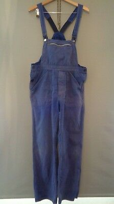 Vtg French indigo HBT cotton work trousers bibs overalls dungarees chore pants