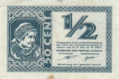 Slovenia Laibach 1/2 Lire 1944 WW2 German Occupation P.R16