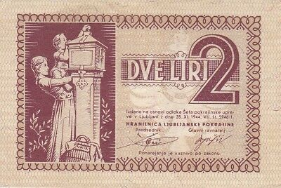 Slovenia Laibach 2 Lire 1944 WW2 German Occupation P.R18