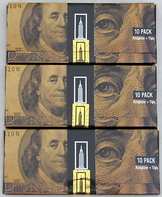 Empire Rolling Papers 3 (Three) Packs 10 (Ten) $100 Dollar Bill Plus Filter Tips