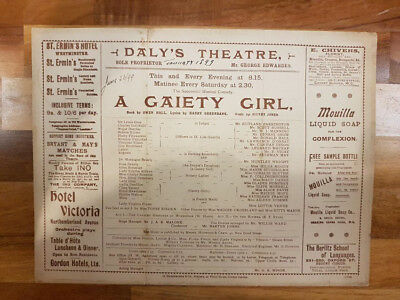 1899 Programme - 'A Gaiety Girl', Daly's Theatre (London)