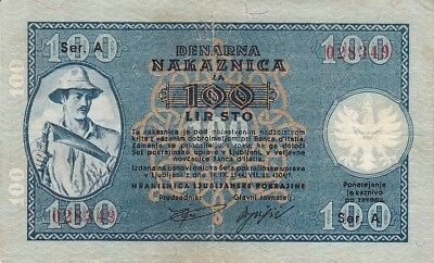 Slovenia Laibach 100 Lire 1944 WW2 German Occupation P.R22
