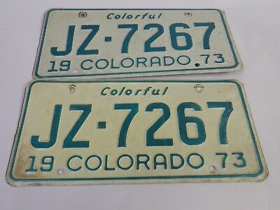 Colorado 1973 License Plate Pair Jz-7267