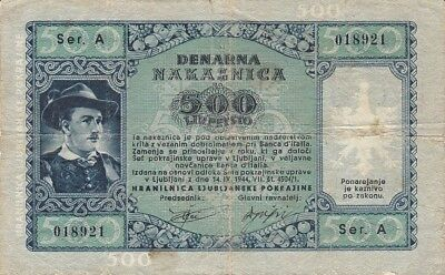 Slovenia Laibach 500 Lire 1944 WW2 German Occupation P.R23