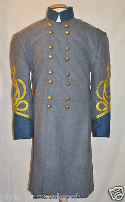 IN STOCK! Size 42 2-Gold Braid - Confederate Officer Frock w/Blue Collar & Cuffs
