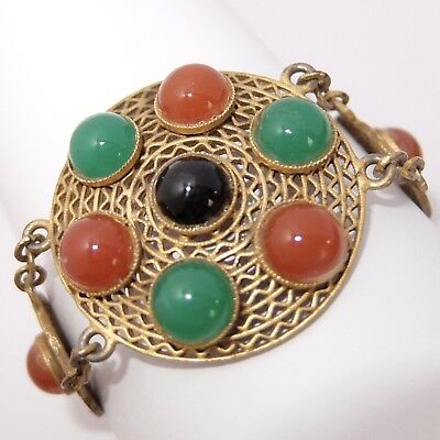 Vintage Art Deco Gilt Brass Filigree Carnelian Chrysoprase Onyx Glass Bracelet