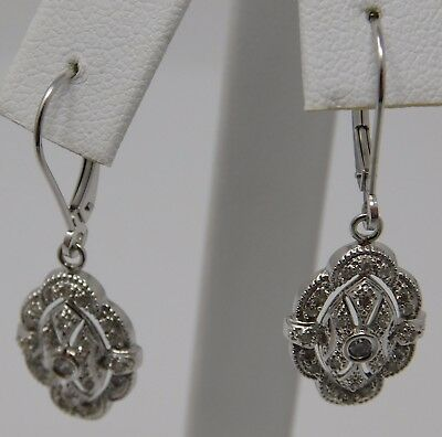 Estate 14K White Gold Diamond Earrings .40 Tcw J/k Si-1 Diamonds 3.0 Grams