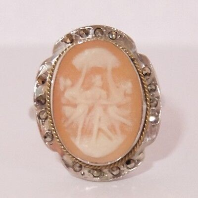 Vintage Art Deco 800 Silver Marcasite Carved Shell Cameo Three Graces Ring