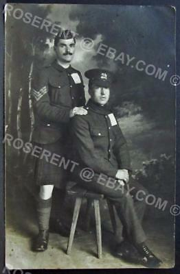 WW1 Leicestershire Rgt Private & Scots Sargent P.O.W.s  -Real Photo Postcard