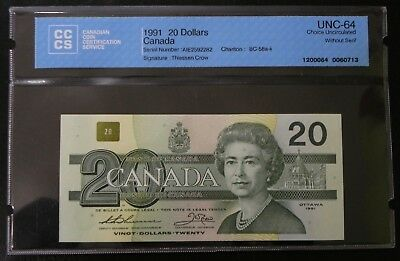 1991 $20 Bank of Canada CCCS Certified UNC-64 Choice Uncirculated without serif